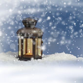 Christmas lantern on snowy background — Stock Photo