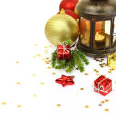 Christmas lantern and ornaments isolated on white — Stock Photo