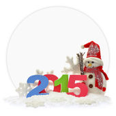Snowman and new year 2015 in front of a paper card  — Foto Stock