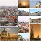 Fine winter photography collage Vienna Austria — Stock Photo