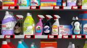 Various 3D household products on supermarket shelve — Stock Photo