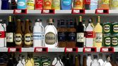 Various 3D beverages products on supermarket shelve — Stock Photo