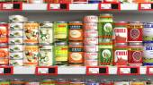 Various 3D can food products on supermarket shelve — Stock Photo