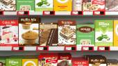 Various 3D sweets products on supermarket shelve — Stock Photo