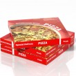 3D pizza boxes isolated on white background — Foto Stock #62862533