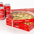 3D cola cans and pizza boxes isolated on white — Foto de Stock   #62862645