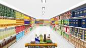 Supermarket interior and shopping cart with various products  — Stock Photo