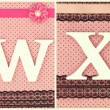 Wooden letters U V W X Y Z on polka dots background — Stock Photo #65080169