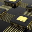 Computer multi-core microchip CPU isolated on black background — Stock Photo #65083057