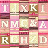 Various wooden letters on polka dots collage background — Stockfoto
