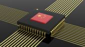 Computer CPU with Chinese flag isolated on black background — Stock Photo