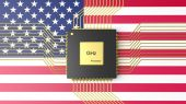 Computer CPU with flag of USA background — Stock Photo