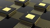 Computer multi-core microchip CPU isolated on black background — Stock Photo