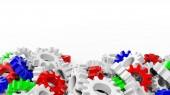 Pile of colorful cogwheels isolated on white background — Stock Photo