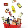 Full shopping basket with products isolated on white — Stock Photo #66975283