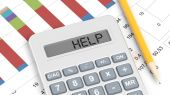 Calculator and documents with info charts and text Help — Stock Photo