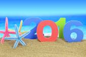 New year number 2016 and starfishes on the beach — Stock Photo