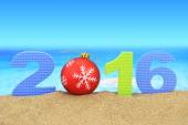 New year number 2016 on the beach — Стоковое фото