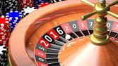 3D closeup of casino roulette with New year 2016 — Stock Photo