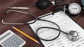 Medical instruments, calculator and patient form on desktop — Stock Photo