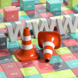 WWW letters, traffic cones and cubes with domain extensions — Stock Photo #75617349