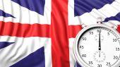 Bandeira do Reino Unido com cronómetro — Fotografia Stock
