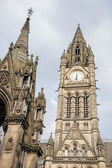 Town Hall and Albert Memorial by Noble, Albert Square, Mancheste — Stock Photo