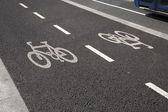 Bike Lane with Bus — Foto Stock
