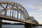 Railway Bridge and Banks of River Daugava, Riga — Stock Photo