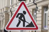 Men at Work Traffic Sign — Stock Photo