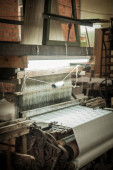 Silk loom weaving machine — Stock Photo