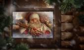Santa Claus preparing Christmas gifts — Stock Photo