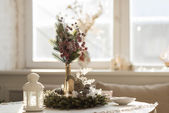 Christmas interior in natural light — Stock Photo
