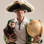 Man adventurer with monkey — Stock Photo #60113999