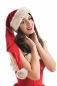 Beautiful woman     Santa  helper — ストック写真