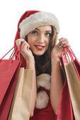 Santa woman shopping — ストック写真