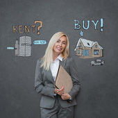 Businesswoman and Mortgage concept sign — Stock Photo