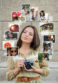Girl with camera and many images — Foto Stock