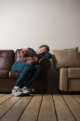 Guy fell asleep at hangout — Stock Photo