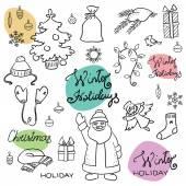 Doodle christmas set — Stock Vector
