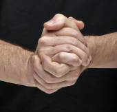 Two hands togheter meaning that all are done — Stockfoto