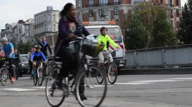 Bicyclist, joggers,skateboarder,horses and walkers enjoy Car Free Streets on Tervueren Ave as part of Brussels City's September 21, 2014 in Brussels, Belgium — Stockvideo