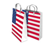 Two Shopping Bags opened and closed with USA flag. Retail busine — Stock Photo