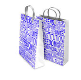 Two Shopping Bags opened and closed with Human rights words. Ret — Stock Photo