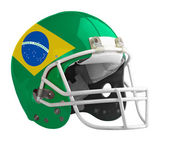 Flagged Brazil American football helmet — Stock Photo