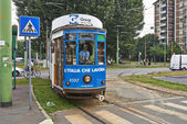 Milan blue Cable Car — Foto Stock