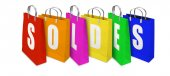 Soldes Shopping Bags opened and closed — Stock Photo