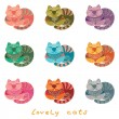Lovely cats seamless pattern — Vetor de Stock  #58741831