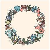 Garden doodls frame — Stock Vector