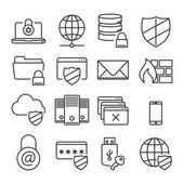 Information technology security icons. Plain line — Stock Vector